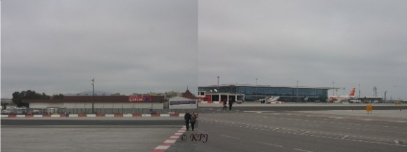 Walking across the runway, Eroski on one side, Sleazyjet and the new airport on the other